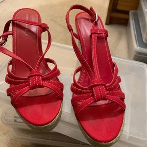 Red Strappy wedges